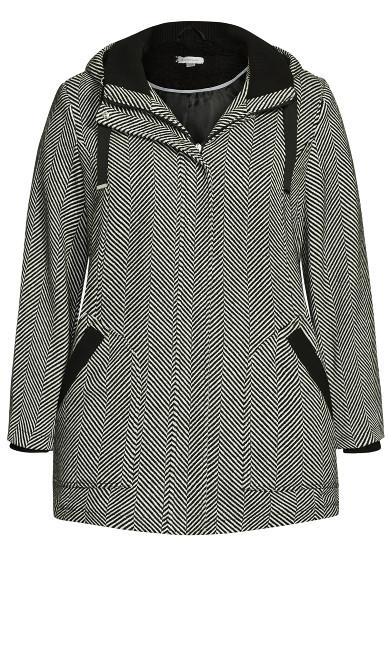 Faux Wool Sherpa Trim Coat - black chevron