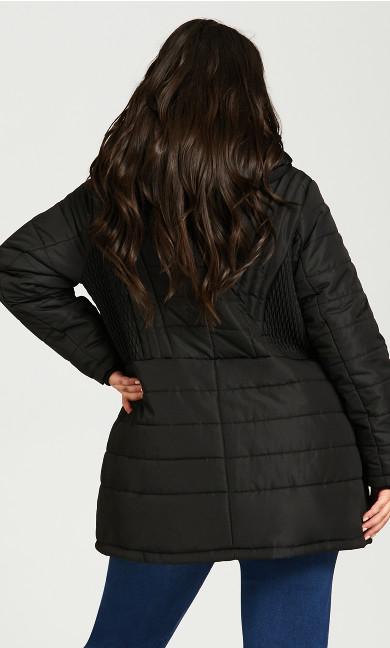 Pillow Collar Hooded Puffer Jacket - black