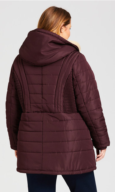 Pillow Collar Hooded Puffer Jacket - rosewood