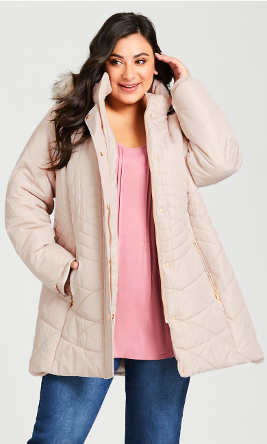 Plus Size Wave Quilt Puffer - angora