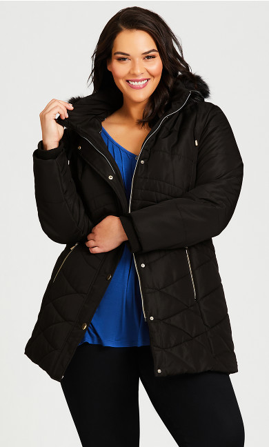 Plus Size Wave Quilt Puffer - black