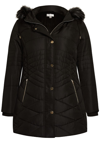 Wave Quilt Puffer - black