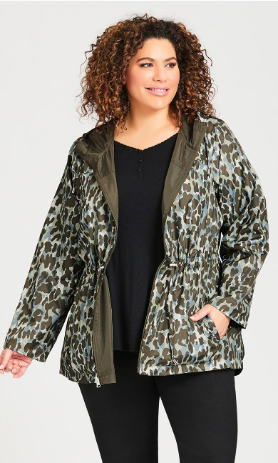 Plus Size Parka In A Pocket Jacket - olive