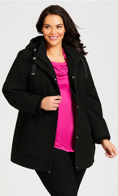 Plus Size Faux Wool Trim Coat - black