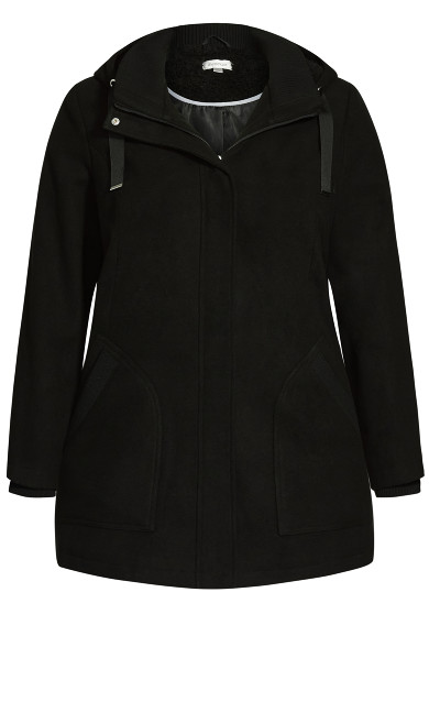 Faux Wool Trim Coat - black