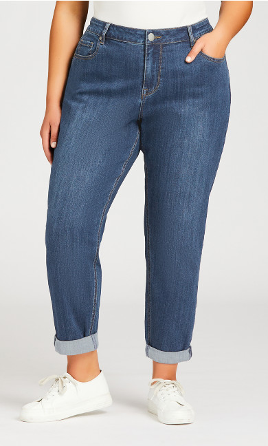 Girlfriend Stretch Jean Mid Wash - average