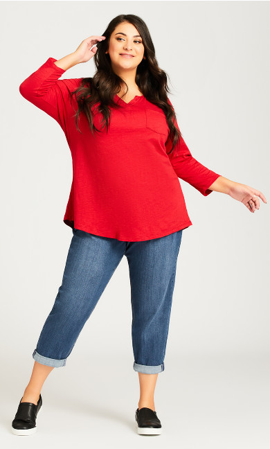 Plus Size Stretch Girlfriend Jean Mid Wash - petite