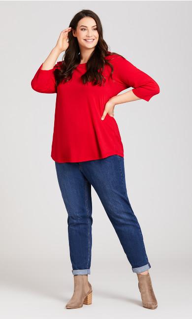 Plus Size Stretch Girlfriend Jean Mid Wash - tall
