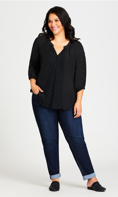 Plus Size Stretch Girlfriend Jean Dark Wash - tall
