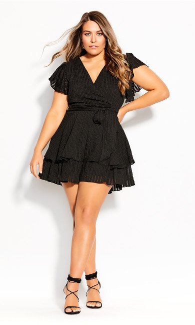 Plus Size First Date Playsuit - black