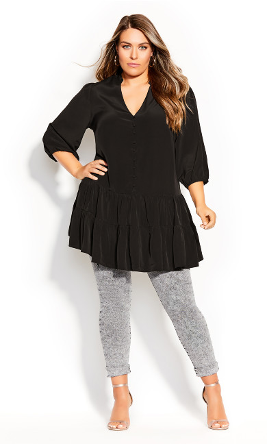 Plus Size Next Level Longline Top - black