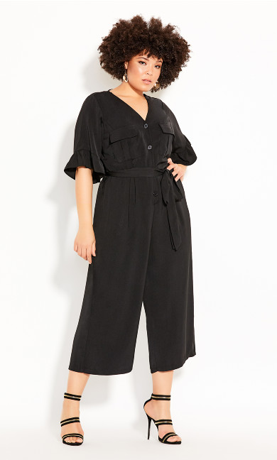 Plus Size Utility Jumpsuit - black