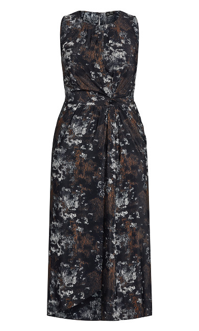 Linear Print Dress - black