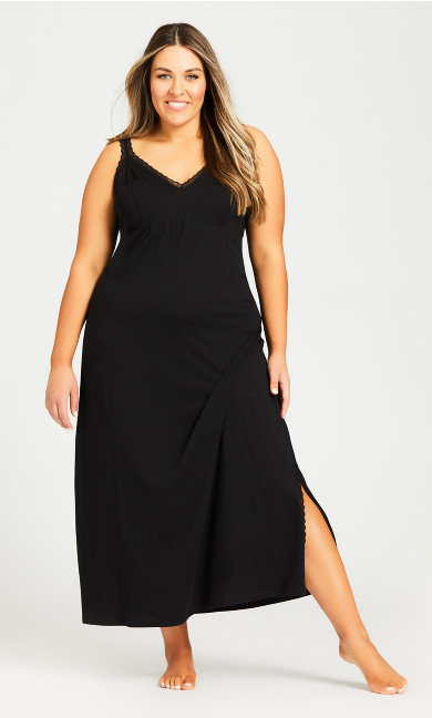 Plus Size Lace Trim Sleep Maxi Dress - black