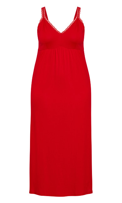 Lace Trim Maxi Sleep Dress - red