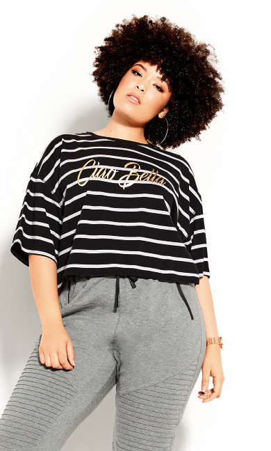 Plus Size Boyfriend Stripe Tee - black