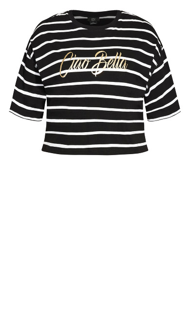 Boyfriend Stripe Tee - black