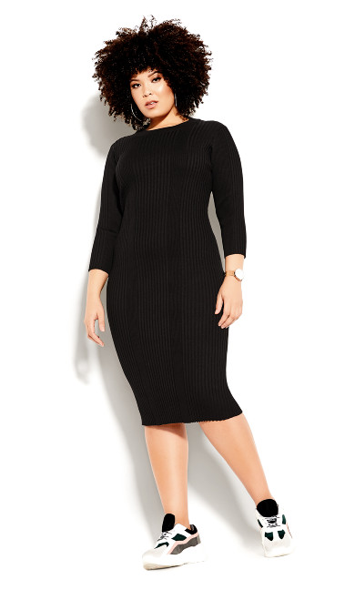 Plus Size Sweater Dress - black