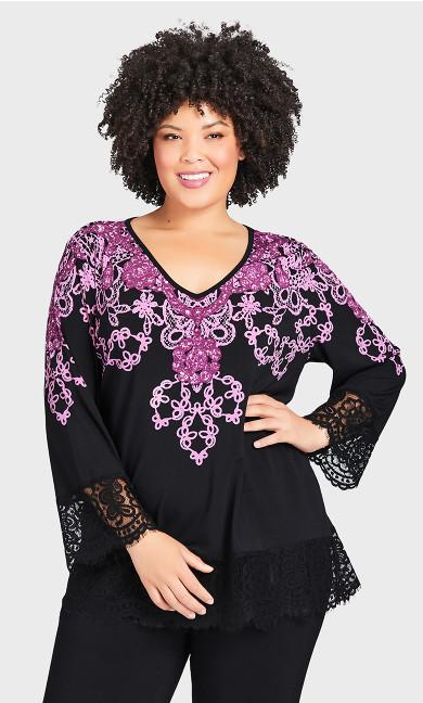 Plus Size V Neck Lace Trim Print Tunic - black magenta