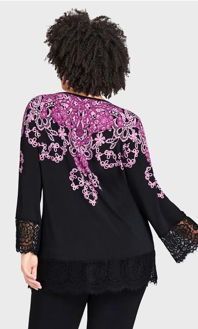 V Neck Lace Trim Print Tunic - black magenta