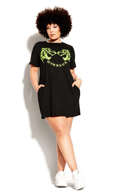 Plus Size Honour Dress - neon print