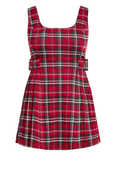Plaid Pini Dress - red