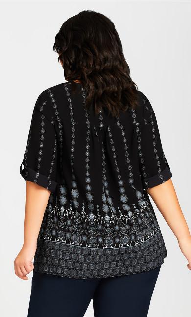 Pleat Zip Border Print Blouse - black