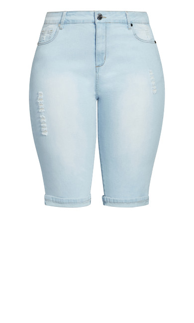 Knee Turn Up Short - light denim