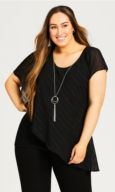 Plus Size Alicia Glam Necklace Top - black