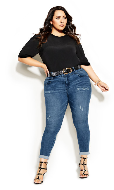 Plus Size Asha Baby Rip Jean - light wash