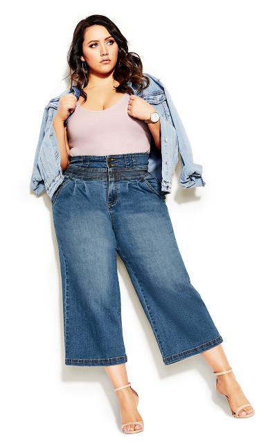 Plus Size Harley Denim Culotte Jean - denim