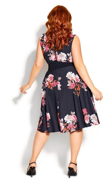 Crush Floral Belted Dress - black