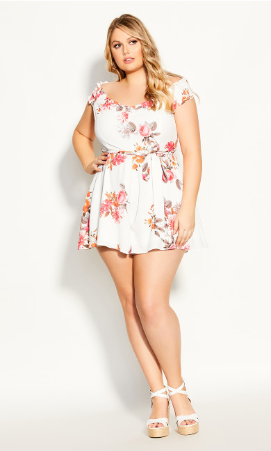 Plus Size Floral Crush Playsuit - ivory