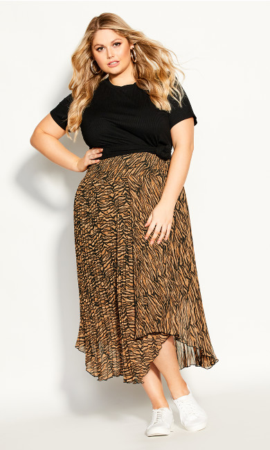 Plus Size Bengal Skirt - tiger print