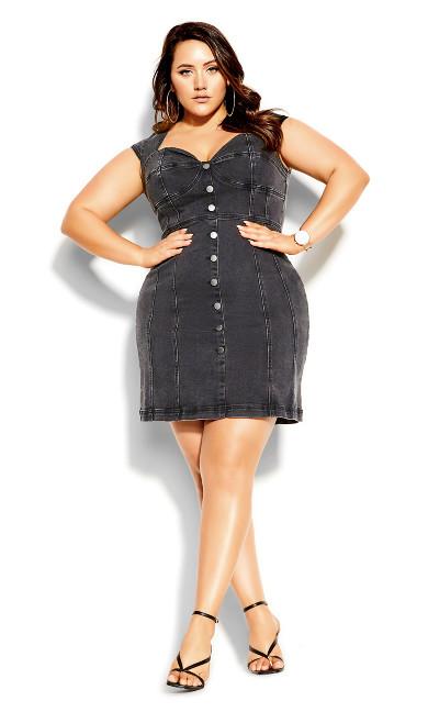 Plus Size Britney Denim Dress - steel grey