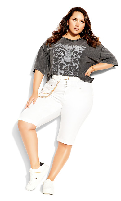 Plus Size Knee Hi Waist Short-  ivory