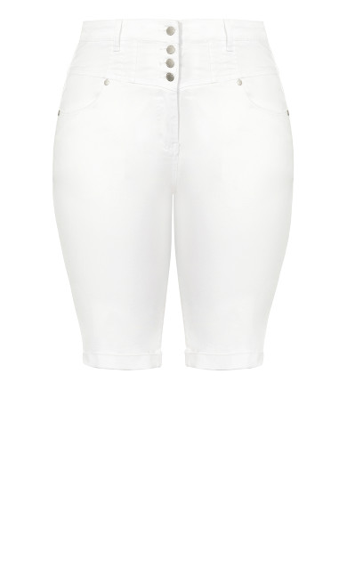 Knee Hi Waist Short-  ivory