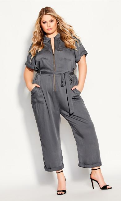 Plus Size Boiler Suit Jumpsuit - slate
