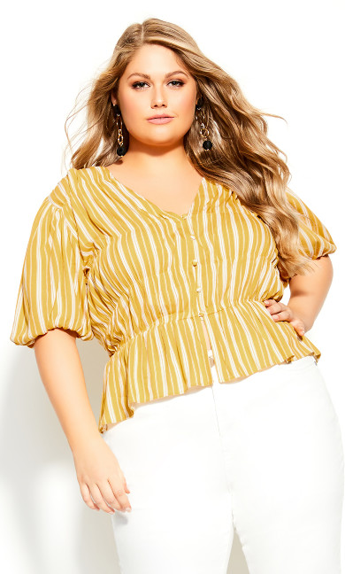 Plus Size Sun Stripe Shirt - mustard