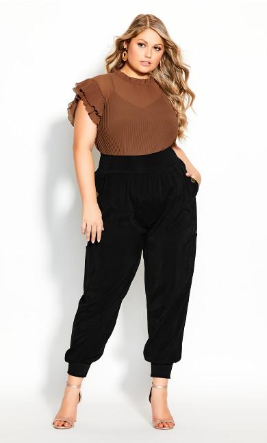 Plus Size Utility Pockets Pant - black