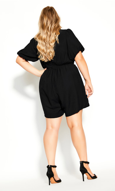 Sweet Sleeve Playsuit - black