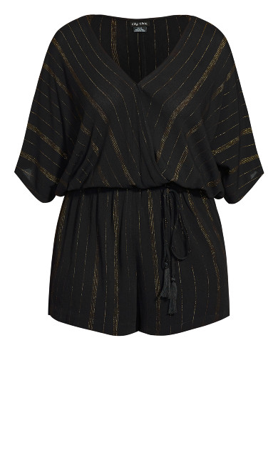 Metallic Playsuit - black