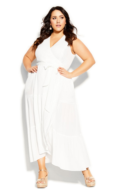 Plus Size Sunset Maxi Dress - ivory