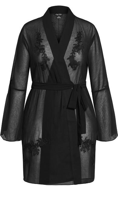 Gabriella Embroidered Robe - black