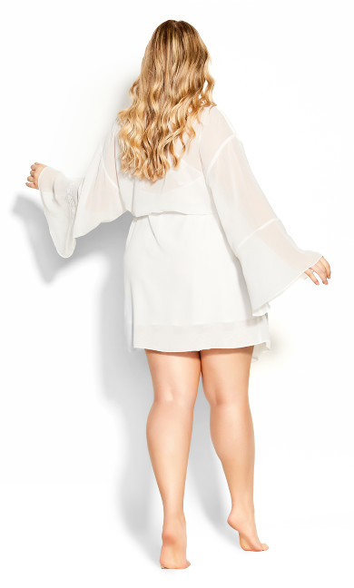 Gabriella Embroidered Robe - ivory