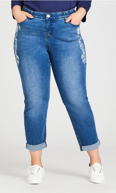 Embroidered Girlfriend Mid Wash Jeans - average