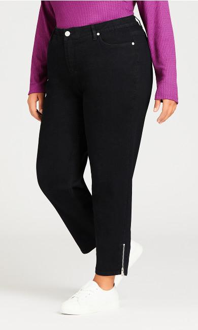 Ankle Zip Black Denim Jean - average