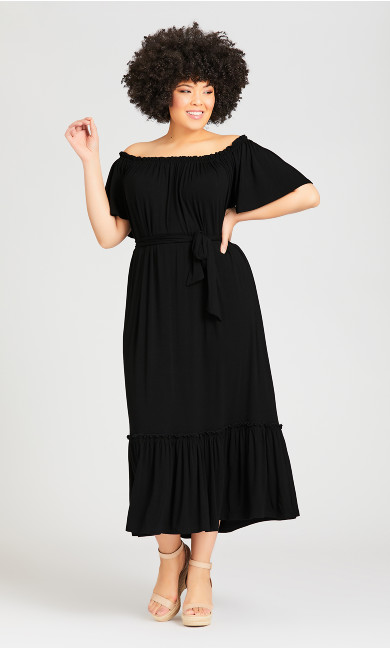 Plus Size Latifa Plain Dress - black