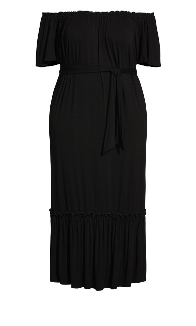 Latifa Plain Dress - black