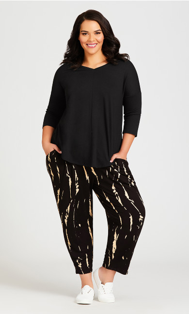Plus Size Ivy Print Pant - black